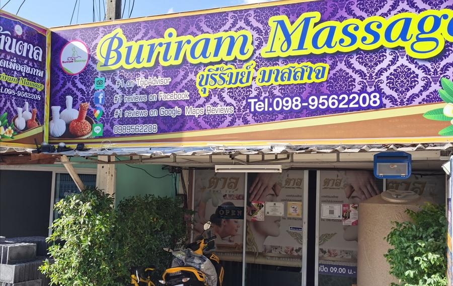 Buriram Massage Studio Front Door Sign